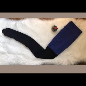 Alo Goddess Leggings Pants Ribbed Blue Black, M